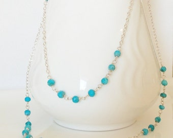 Extra Long Sleeping Beauty Turquoise Handmade Necklace Wire Wrapped with  Sterling Silver