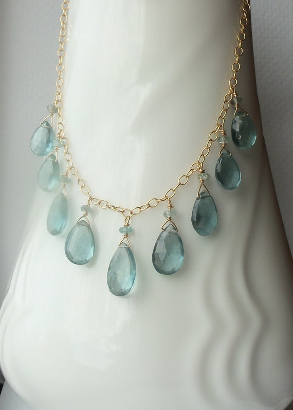 AAA Steely Blue Aquamarine Briolettes Wire Wrapped Necklace on 14kt Gold Fill OR Sterling Silver