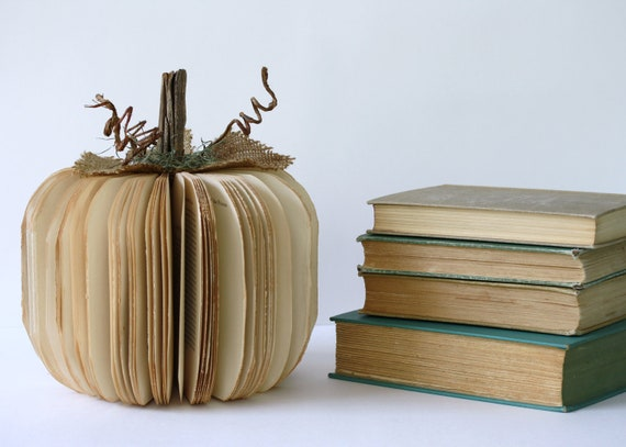 Vintage Book PUMPKIN size medium TEACHER GIFT