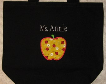 TEACHER Personalized Tote bag large black canvas Back to School preschool kindergarten elementary school daycare dr seuss teacher gift idea
