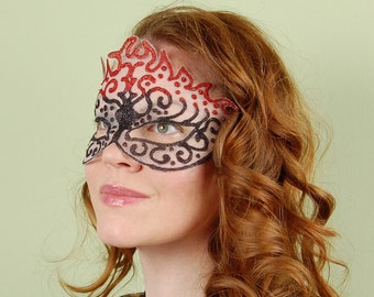 SHEER MASK- Blackjack On Fire- Halloween, Fairy, Mardi Gras, venetian or masquerade mask