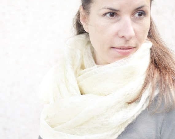 Cobweb Shawl Scarf Stole Natural Ivory White Cream Lace Felted Wool Luxury Wedding Bridal Fashion organic Eco-friendly