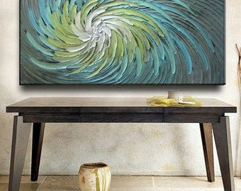 Abstract Painting 52 x 26 Original Custom Heavy Texture Carved Sculpture Floral Aqua Silver Beige Modern Oil Painting by Je Hlobik