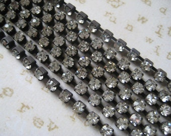 Rhinestone Chain Aged Patina 1 foot of 3mm