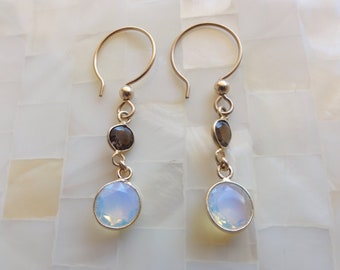 Faceted Smoky Quartz & Opalite Vermeil Bezel Connector Dangle Earrings (E1080)