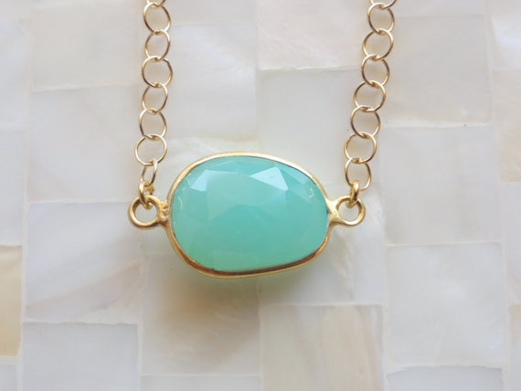Faceted Chrysoprase Vermeil Bezel Connector Gold Chain Necklace
