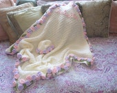 Crochet Baby Blanket with Rosettes all the way around