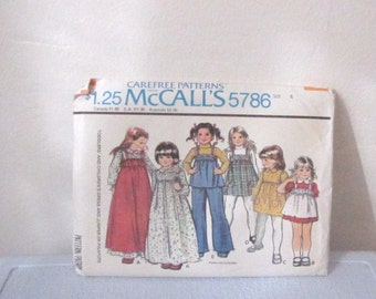 Vintage 1970s Girl's Dress Pattern / McCalls 5786 Size 4 1977