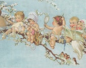 Vintage Fairy babies in a blossom tree digital file