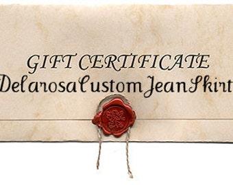 Gift Certificate by Delarosa Custom Jean Skirts