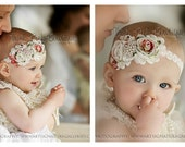 Ivory petti lace romper and FLORAL headband SET, petti romper,baby headband, flower headband,vintage inspired headband and lace petti romper