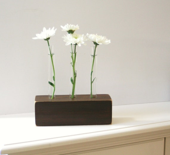Bud Vase for three flowers, chocolate brown, test tubes, rustic, modern