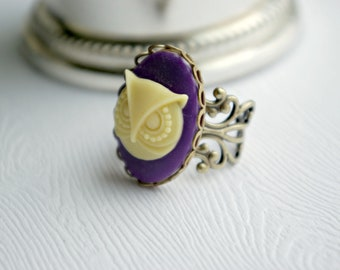X-Grande Purple Buttery Ivory Owl Ring