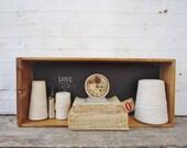 Wooden Chalkboard Shelf - Vintage Oak Wooden Drawer - 24 x 10-1/2 x 5