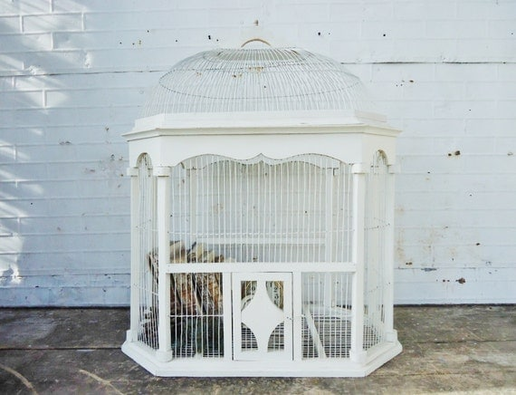 Vintage Bird Cage - White Wooden Bird Cage - Very LARGE - Wedding or Home Decor - Excellent Condition