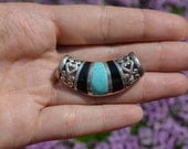 Vintage Turquoise and Onyx Pendant