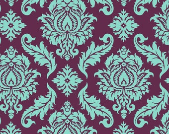 Joel Dewberry - AVIARY 2 - Damask in Plum JD43 - Free Spirit Fabric - By the Yard