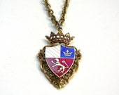 HERALDIC Necklace Vintage Shield Crest Coat of Arms 1960's Necklace Lion Necklace Gold