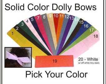 Dolly Bow, Wire Headbands Pick Your Solid Color School Spirit Bows