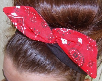 Reversible Wire Headband Dolly Bow, Red Bandanna and Black Rockabilly Pin up Hair Accessory for Girls Teens Women