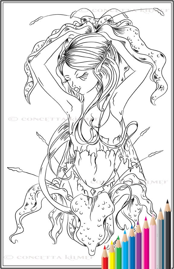 Lillian flower fairy fantasy fae flower printable pdf for Flower fairy coloring pages