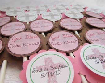 Baptism Cupcake Toppers - God Bless Cupcake Toppers - Baptism Party Decor