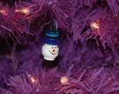 Snowman Head Button Christmas Tree Ornament with Dark Blue Top Hat - Proceeds Benefit Cancer Research