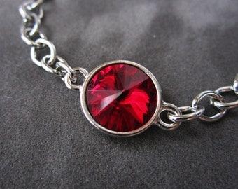 January Birthstone Bracelet, Swarovski Crystal Birthstone Jewelry, Silver, Red Garnet Bracelet, Mother's Jewelry