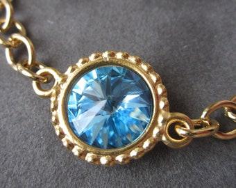 March Birthstone Bracelet, Gold Aquamarine Crystal Birthstone Jewelry, Aquamarine Bracelet