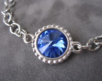 September Birthstone Bracelet, Crystal Birthstone Jewelry, Silver, Sapphire Bracelet