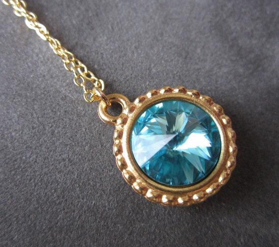 gold december birthstone necklace swarovski by sprigjewelry. Black Bedroom Furniture Sets. Home Design Ideas