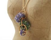 Pendant Necklace - Beaded Bead Cascade - purple sage green gold