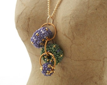 Pendant Necklace - Beaded Bead Cascade - purple sage green gold