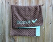 Personalized Monogrammed Bird Crib Blanket in Turquoise and Brown Minky