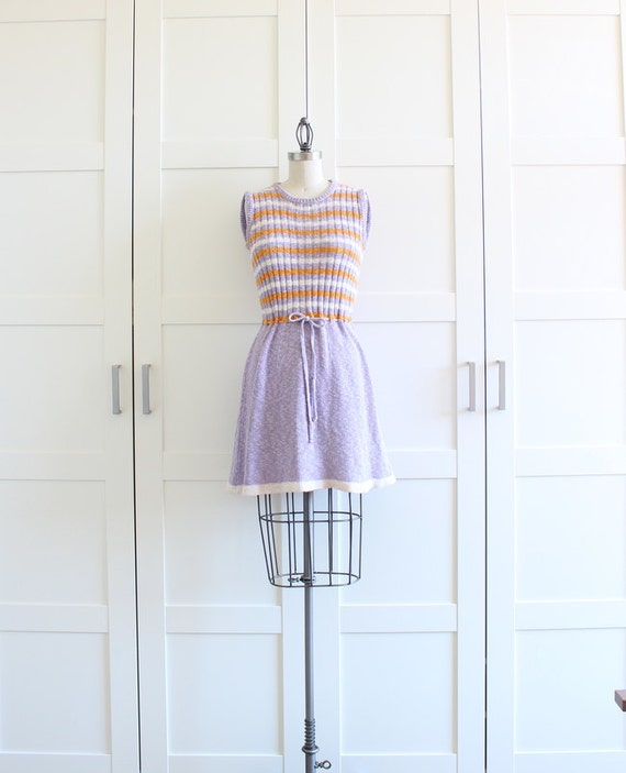 60s Mini Dress, Sleeveless Mod Mini Crochet Dress, Lavender Yellow Knit Striped Dress, size Small Medium
