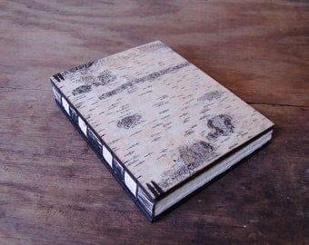 handmade journal white birch bark- wood book - large rustic wedding guest book  unique wedding gift - made to order