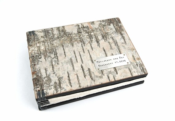 guest book -  custom birch bark wedding wood book / rustic natural cabin nature inspired black gray - fall wedding - made to order