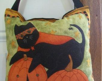SALE - Halloween Door Knob Hanger - Halloween Caped Crusader Cat