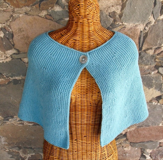 ON SALE Knit Capelet in Tiffany Blue