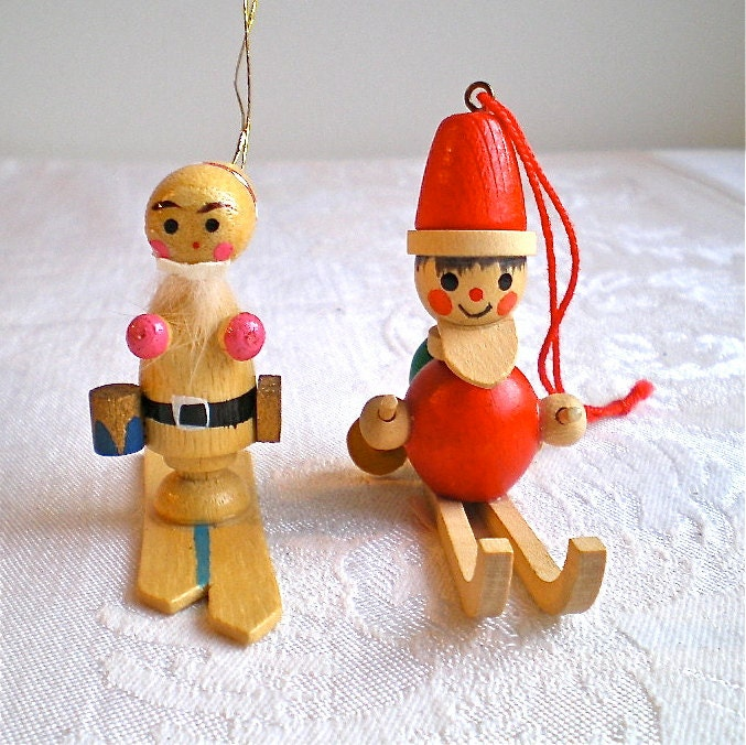 Christmas Ornaments Santa West Germany Wooden By