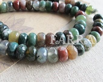 Rondelle india agate beads, 15 inch strand approx 78 pieces, faceted rondelle agate gemstone beads