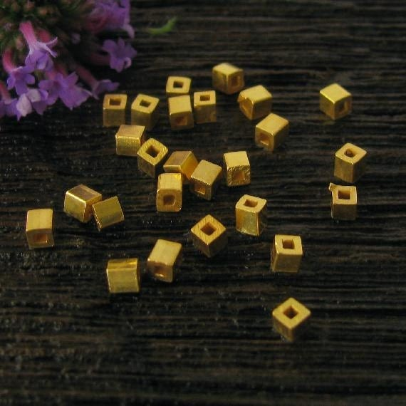 Vermeil Rounded Cube Beads  - Square Gold Vermeil Beads  - - 20 pcs Tiny Gold Seed Beads - MB45