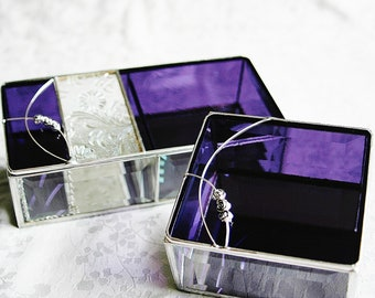 Bridesmaid Gift Set Stained Glass Jewelry Box Four 4x8x2 One 4x4x2 Purple w/ Roses Custom-made Flower Girl Mother-of-the-Bride Groom