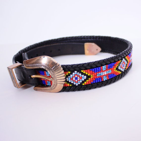 vintage beaded navajo black leather belt by dreamingneon