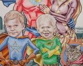 Super Hero Family of 5 6 or 7 plus PET option Custom Portraits Comic Book Cover