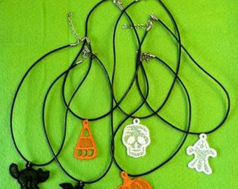 Machine Embroidered Lace Halloween Necklace