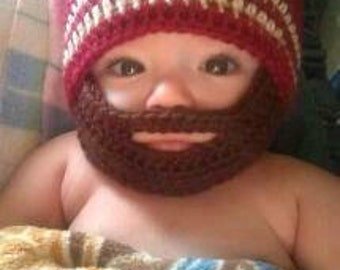 Crochet Baby Boy Beanie with Beard Hat - 3 months to 10 years - Autumn Red and Bone with a Chocolate Beard - MADE TO ORDER