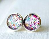 firecracker silver post earrings, 10mm, 12mm, faux plugs, sparkle, fake plugs
