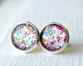 firecracker silver plated post earrings, 10mm, 12mm, faux plugs, sparkle, fake plugs