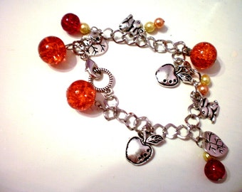 orange nature charm bracelet (free combined shipping)